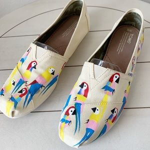 Toms Custom Hand Painted Bird Shoes Size 12